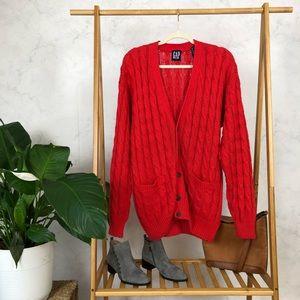 Vintage 90s GAP Red Chunky Knit Oversized Cardigan